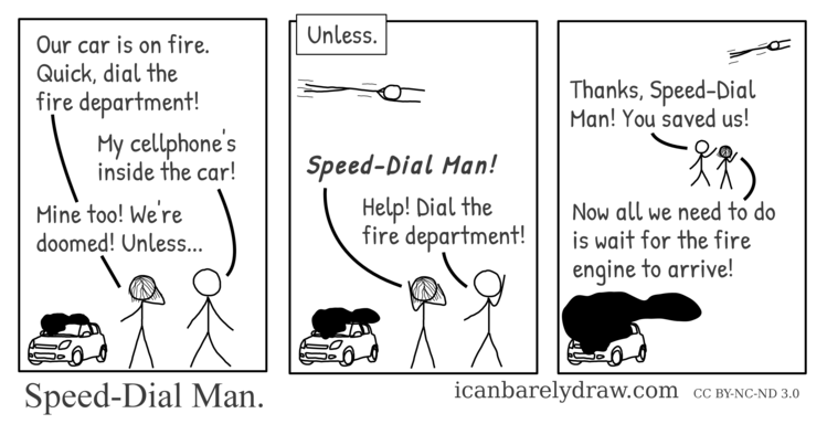 Speed-Dial Man. Smoke pours out of an automobile. Speed-Dial Man flies to the scene, dials the fire department, and departs, leaving the passengers to wait for the fire engine to arrive.