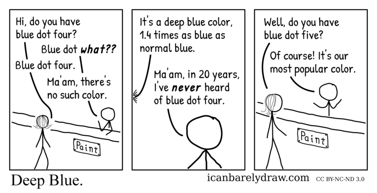 Deep Blue. A man selling paint has never heard of blue dot four, a color said to be 1.4 times as blue as normal blue, but says that blue dot five is their most popular color.